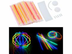 100 tubes lumineux fluorescents 20 cm/ 6 coloris avec raccords