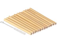12 pailles en bambou 13cm réutilisables avec brosse de nettoyage