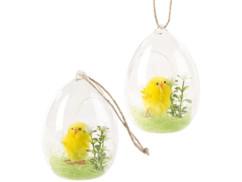 2 décorations en verre à poser ou à suspendre avec poussin de Pâques