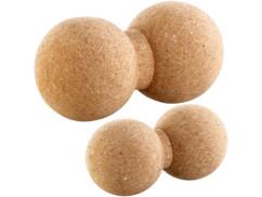 2 doubles balles de massage et d'exercice en liège Ø 6,5 et 8cm