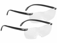 2 lunettes grossissantes x1,6 sans monture avec sac de protection