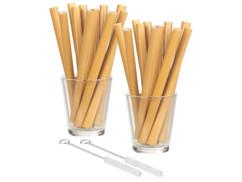 24 pailles en bambou 13 cm réutilisables avec brosse de nettoyage