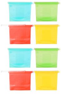 8 sachets alimentaires refermables en silicone,1000 ml