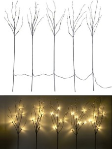 5 branches décoratives lumineuses 90 cm 30 LED blanc chaud