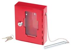 mini boite à clé avec vitre et marteau de secours pour incendie ou inondation