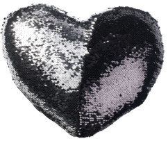 coussin déco forme coeur avec paillettes grises et noires pour salon chambre fille