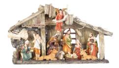 Crèche de Noël en polyrésine avec 11 figurines peintes à la main