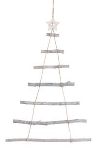 decoration murale suspension de noel echelle branches et corde forme sapin