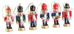 pack de 5 petites figurines en bois style casse noisette allemand avec corde pour sapin de noel