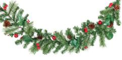 guirlande decorative pour portes et fenetre immitation branche de sapin avec pommes de pin et houx 180cm