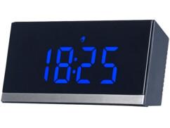 Horloge de table radio-pilotée à LED - Noir / Bleu