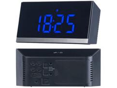 horloge numerique digitale a poser grands chiffres bleu noir avec radio pilotage