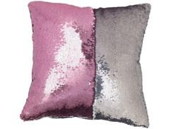 Housse de coussin carrée paillettes et velours, coloris rose & argent, 40 x 40 cm