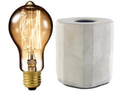 Lampe de table décorative en béton avec Ampoule à filaments E27 40W