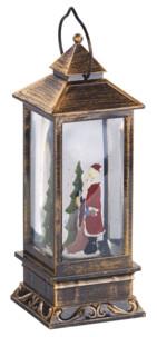 lanterne decorative de noel style lanterne retro avec statuette pere noel et mini guirlande led