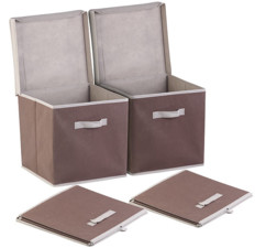 Lot de 2 boîtes de rangement pliables avec couvercle - Brun