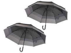 pack de 2 grands parapluies 2 personnes en toile noire avec resistance au vent 150cm semptec