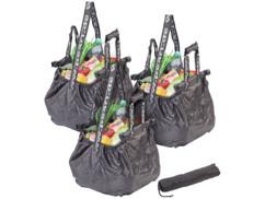 Lot de 3 sacs de courses pliable 20 L avec clips de fixation & bandoulière