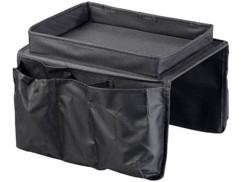 Organisateur pour accoudoir de canapé avec plateau et 5 compartiments