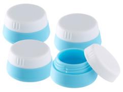 pack de 4 pots en silicone souple pour transport cremes et produits de beauté dans avion et sac a main