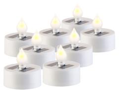 Pack de 8 bougies plates à LED avec chargeur solaire et capteur de luminosité