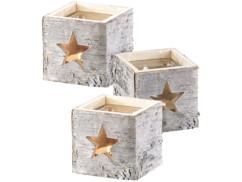3 photophores en bois motif étoile
