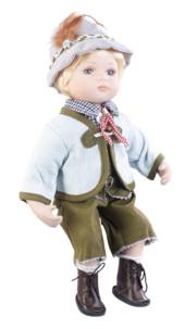 petite poupee en porcelaine vintage retro avec habit traditionnel bavarois baviere