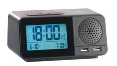 Radio-réveil radio-piloté avec  hygromètre / thermomètre / chargement USB