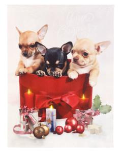 Tableau de Noël à 3LED avec des chiots 30 x 40 cm