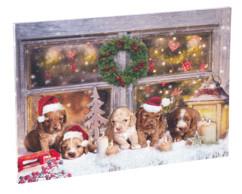 Tableau de Noël à 5LED avec des chiots 60 x 40 cm