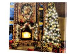 """Tableau lumineux à LED lumière vacillante """"Magie de Noël"""" 40 x 30 cm"""