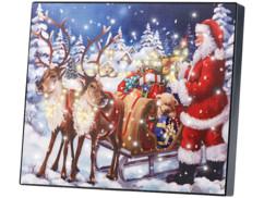 """Tableau lumineux """"Père Noël et son traîneau"""" 28 x 23 cm"""