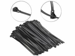 100 colliers de serrage réutilisables, coloris noir - 200x 7,6mm
