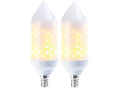 2 ampoules LED effet flamme E14 / 5 W / 304 lm
