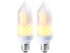 2 ampoules LED effet flamme E27 / 5 W / 304 lm / A+