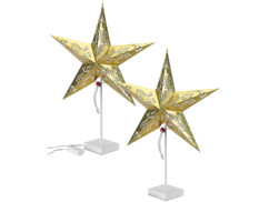 2 étoiles lumineuses à LED - modèle doré