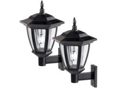 2 lanternes solaires à LED 25 Lm design rétro