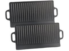 2 plaques-grils de cuisson en fonte - 51 x 23,5 cm