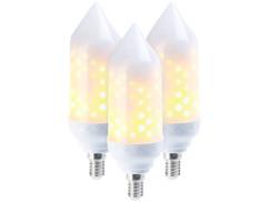 3 ampoules LED effet flamme E14 / 5 W / 304 lm