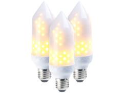 3 ampoules LED effet flamme E27 / 5 W / 304 lm / A+