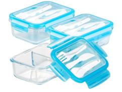 3 boîtes de conservation -20 °Cà 520 °C en verre 2compartiments avec couverts