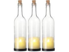 3 bouteilles de vin décoratives avec bougie LED vacillante - Classique