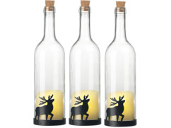 3 bouteilles de vin décoratives avec bougie LED vacillante - Renne