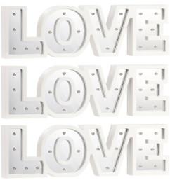 """3 miroirs décoratifs lumineux sans fil """"LOVE"""" avec fonction minuteur"""