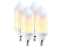 4 ampoules LED effet flamme E14 / 5 W / 304 lm