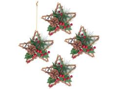 4 étoiles décoratives Ø 15 cm en rotin et véritable pommes de pin