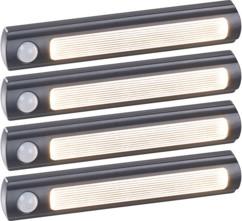 4 lampes de placard sans fil à LED avec détecteur - 25 lm - Noir