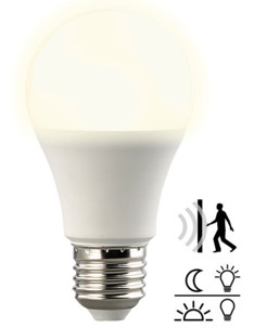 Ampoule LED avec capteurs de mouvement et d'obscurité 10W- Blanc chaud