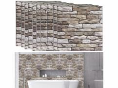 10 autocollants décoratifs 3D (x10) - 30 x 30 cm - Mur en pierres de rivière
