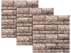Autocollants décoratifs 3D (x3) - 30 x 30 cm - Mur en Grès